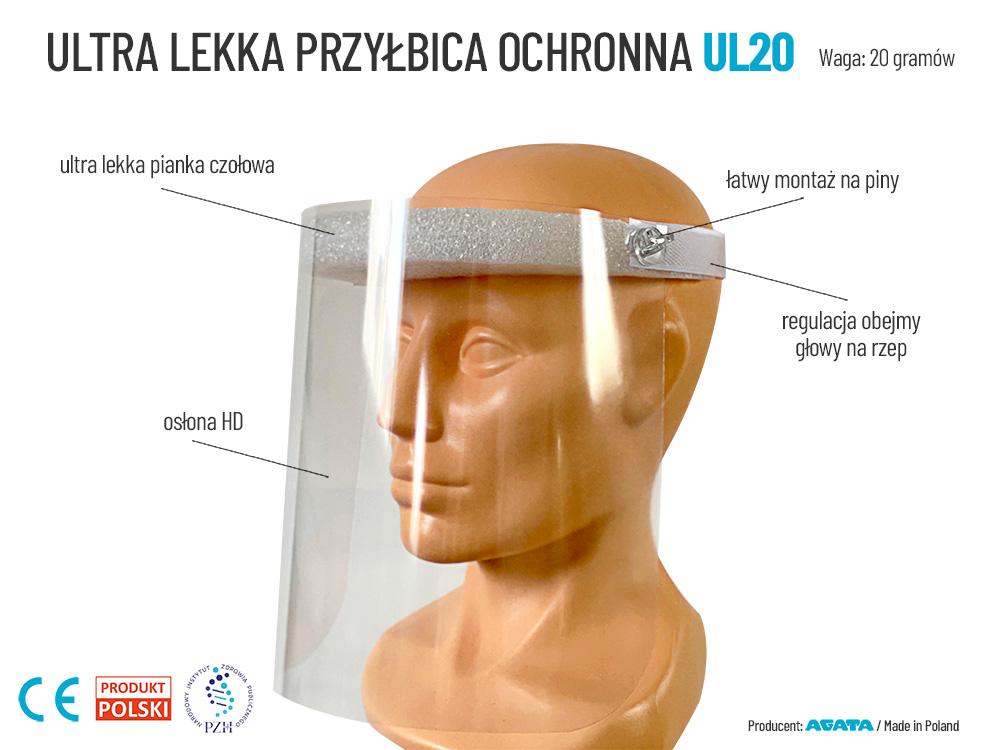 Przyłbica ochronna do twarzy UL20